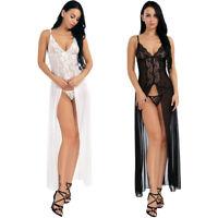 Women Plus Size Long Gown Sexy Lingerie Nightwear Chemise Babydoll Dress Panties