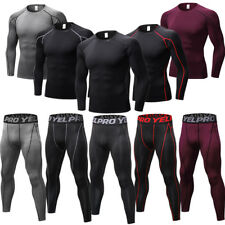 Mens Compression Base Layers Thermal Athletic Long  Pants Moisture Wicking Tops