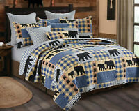 BLACK BEAR BLUE BUFFALO CHECK Full / Queen QUILT SET : LODGE CABIN PLAID COUNTRY