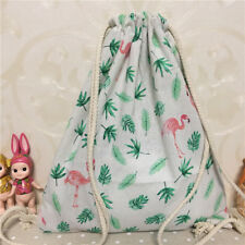 Cotton Linen Drawstring Travel Backpack Student Book Gym Bag Flamingo Leaf B9 E