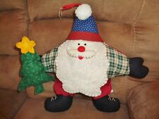 "Santa 15"" Star Shape Fabric Pillow holding Christmas tree"
