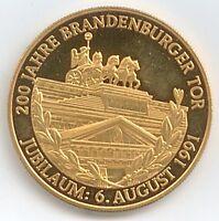 Medaille 200 J. Brandenburger Tor Jubiläum 06. Aug. 1991 Ø 40 mm 26 Gr. B100/15