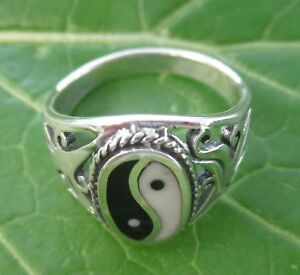 """REAL 925 sterling silver """"YING YANG"""" Oval Ring Big size M1/2-W1/2-Girl Women"""