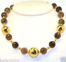 "20"" Technibond Bold Smoky Topaz Bead Chain Necklace 14K Yellow Gold Clad Silver"
