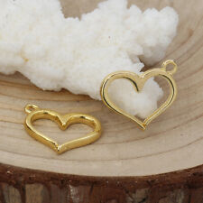 5 pcs Gold hollow heart charm size 16x13mm