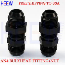 STRAIGHT MALE AN4 4AN TO AN4 4 ALLOY BULKHEAD FITTING FLARE ADAPTOR WITH NUT 2PS
