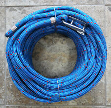 """7/16"""" x 115ft.Dac/Spectra Halyard,Spliced in S/S Headboard Shackle, Royal Bl/red"""