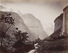 Large albumen photo Lauterbrunnen Staubbach Falls SWITZERLAND landscape village