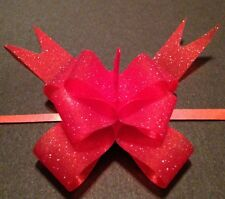 Red Mini PULL BOW made with 1/2 inch wide vellum glitter Ribbon - Easy DIY party