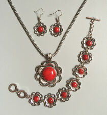 Tibet Silver Red Sunflower Turquoise Inlay Necklace Earring Bracelet Jewelry Set