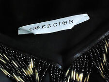 COERCION BeadedTasselLowVneck3/4SlBlackStretch as NEW