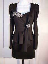 NWT THE STYLE MOB  SENSUAL BLACK CRYSTAL  CLUSTER PEPLUM DRESS  SIZE M