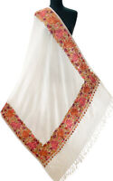 Large Crewel Ari Embroidered Wool Shawl Kashmir Stole Red Purple Floral on Ivory