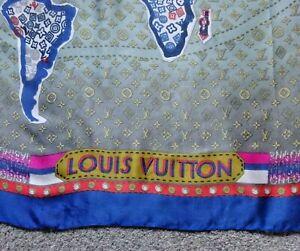 LOUIS VUITTON LONG SILK SCARF STOLE WORLD MAP