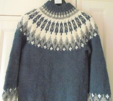 "AUK ORKNEY CHUNKY FAIRISLE JUMPER - BLUE /CREAM - SIZE S - 38/40"" EXCELLENT"