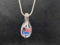Blue & Pink Handmade Contemporary Borosilicate Peewee Marble Jewelry Pendant