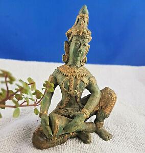 antik Bronze vergoldet Tempel Musiker Buddha Thailand Figur Statue Skulptur