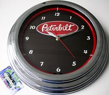 Peterbilt neon wall clock truck chrome Shop home garage work light peterbuilt