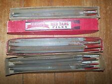 "32 Used 8"" & 7"" Simonds Saw & Steel Co. Slim Taper "" RED TANG"" Files 3 Sided."