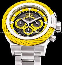 Invicta Men's Bolt Chronograph Silver Yellow Alloy Bracelet 50mm Watch 27799