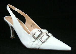 Bijou New York Cami White High Heel Buckle Front Pumps Sz 9.5 W Wide  *2