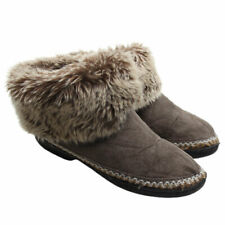 ISOTONER Womens Microsuede Faux Fur Cuffs Brown Low Boot Slippers Sz 7.5-8