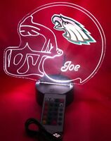 Philadelphia Eagles NFL Football Lamp Personalized Free LED Light Up With Remote