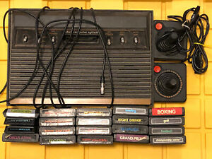 For Parts Atari 2600 6 Switch Console Original 2 Controllers 20 Untested Games