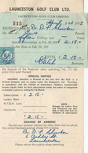 Receipt & Invoice 1955 Launceston Golf Club Ltd Tasmania with 1d stamp duty