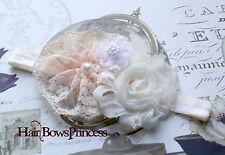 Ivory cream light peach white Vintage Baby Toddler HEADBAND PHOTO PROP Shabby