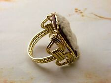 Grecian Goddess Grape Cameo Ring 14k Rolled Gold Purple