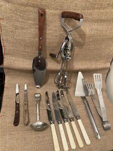 Vintage Kitchen Utensils job lot Prestige Whisk,Battle Axe,Mermaid - Kitchenalia