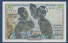 BILLET INSTITUT D'ÉMISSION du TOGO.50 FRANCS Pick n°45 de 1956 en SPL E.10 75914