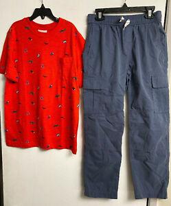 NWT HANNA ANDERSSON Boys Blue Cargo Pull On Pant & Red Insect Tee Shirt SZ 10
