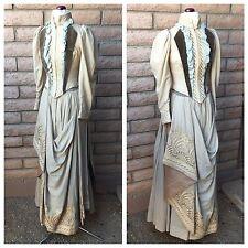 Antique 1890s Formal Dress Draped Embroidered Skirt Velvet Boned Bodice Tails