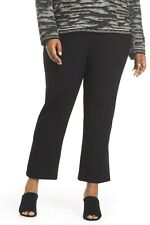NEW Eileen Fisher Leather Trim Ponte Flare Pants in Black - Size 1X #P351