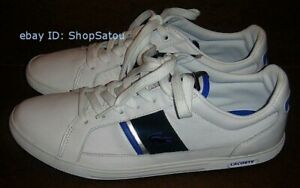 NIB LACOSTE Men's Sneakers Shoes EUROPA LACE YP SPM Leather White & Blue Size 8M
