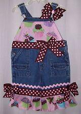 Custom boutique Birthday Cupcake capri overalls size 24 mo PRICE SLASHED!!