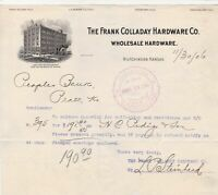 U.S. The Frank Colladay Hardware Co.Kan 1906 Illust. Paid Invoice Letter Rf44203