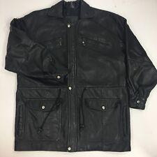 Vtg Men's Black STEER Hide Leather BARNSTORMER Jacket SAFARI FIELD Car Coat 42