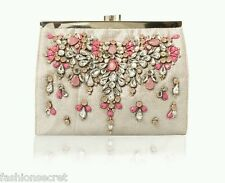 NEW MONSSON ACCESSORIZE SILVER X PINK GEM BEADED EMBELLISHED CLUTCH BAG RRP £39