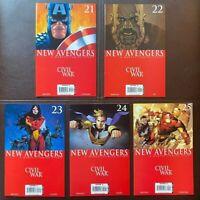 Lot of 5 THE NEW AVENGERS 21-25 Civil War 21 22 23 24 25 Marvel Comics VF+ 2005