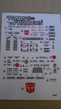 A Transformers replacement sticker/decal sheet for G1 Roadbuster