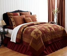 PRIMITIVE STAR 3pc Cal King QUILT SET : RED BROWN PLAID RUSTIC PATCH COMFORTER