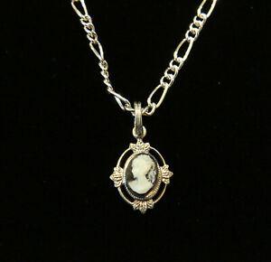 "Cameo Necklace 18"" Figaro Chain Silver & Sterling Silv Plate Black & White Cameo"