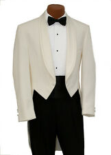 52R Mens Off White Ivory Cream Tuxedo Tailcoat Mardi Gras Costume Tails Tux Coat