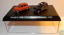 COFFRET ATLAS DUO 2 METAL UH HO 1/87 RENAULT 4 R4 4L BRIQUE 1962 PARISIENNE 1963