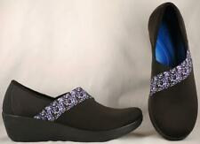 Women's Crocs Stretch Black with Floral Strap Wedge Loafers Shoes 10