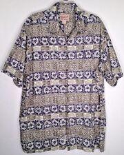 Hawaiian Shirt Woolrich Batik Mens Sz XL Cotton Blue Green Camp Fish Flowers
