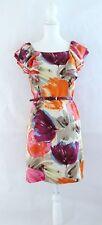 BCBG Max Azria Floral Ruffle Shift Dress Women's Sz 6 M Silk Pink Purple Orange